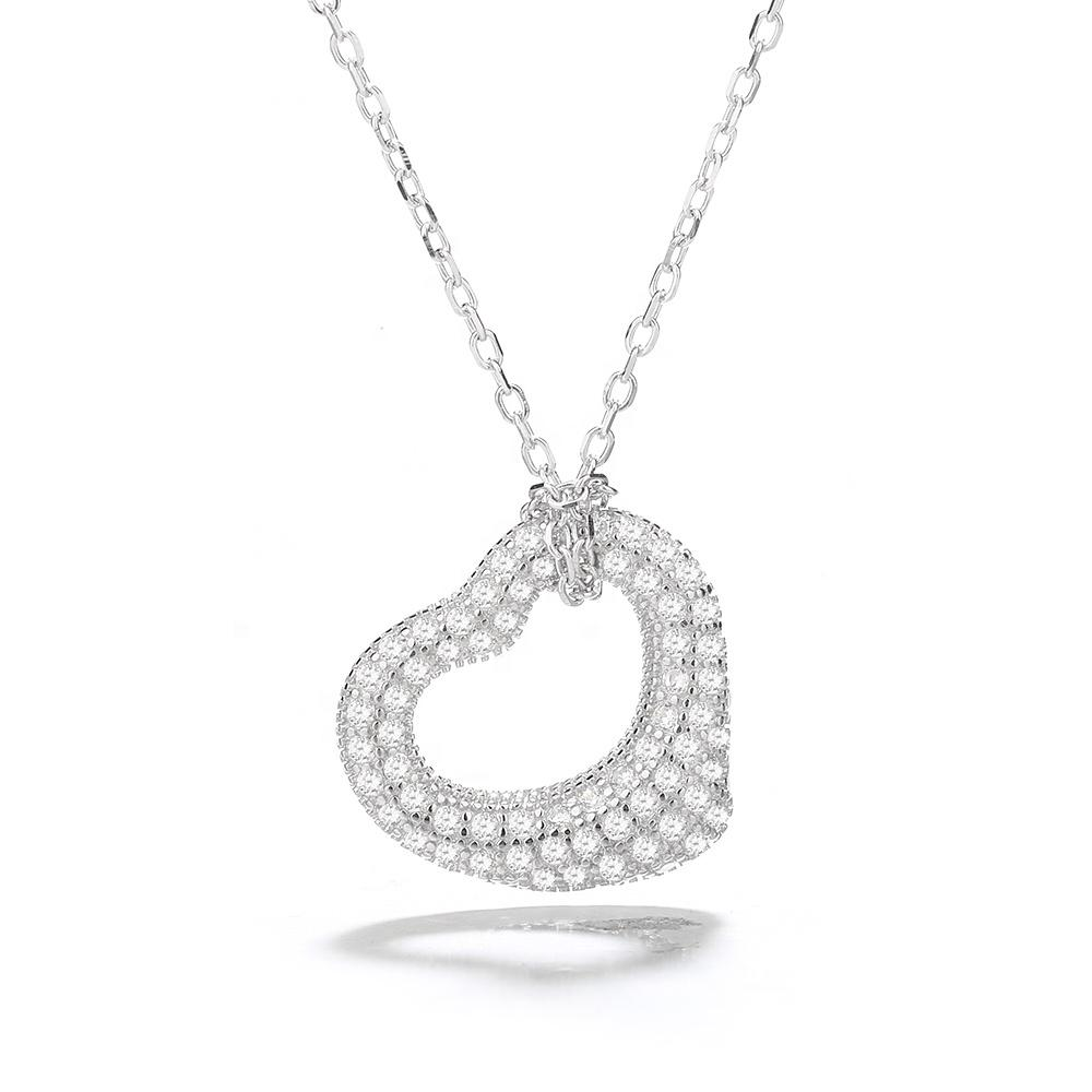 925 Sterling Silver Cubic Zirconia Pave Heart Necklace - The Silver Brand