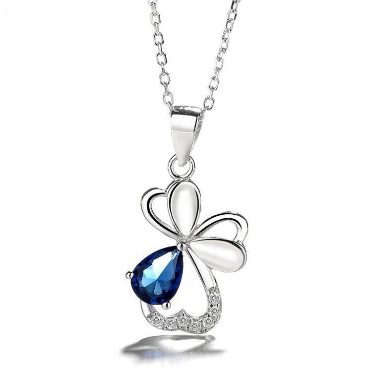 925 Sterling Silver Flower Gem Pendant Necklace - The Silver Brand