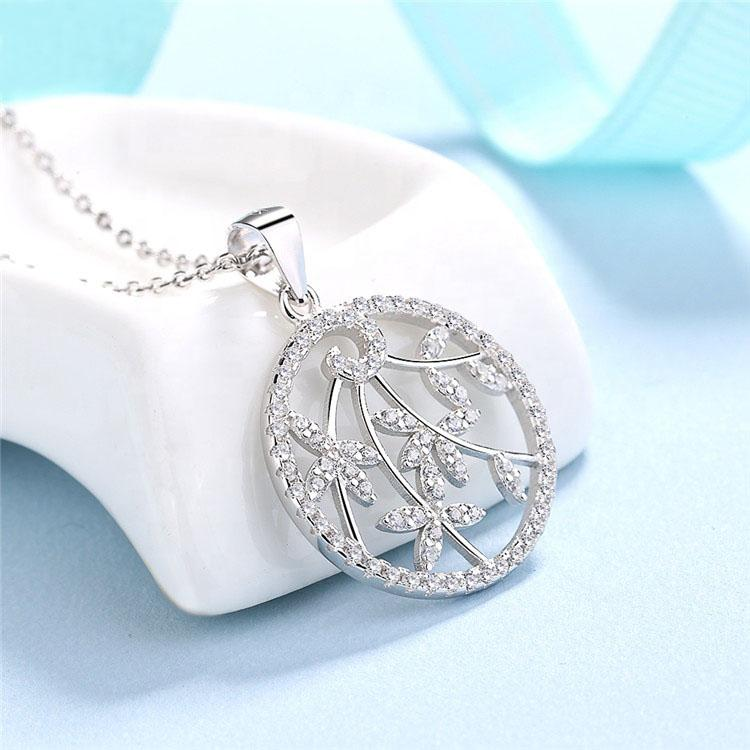 925 Sterling Silver Round Diamond Pendant Necklace - The Silver Brand