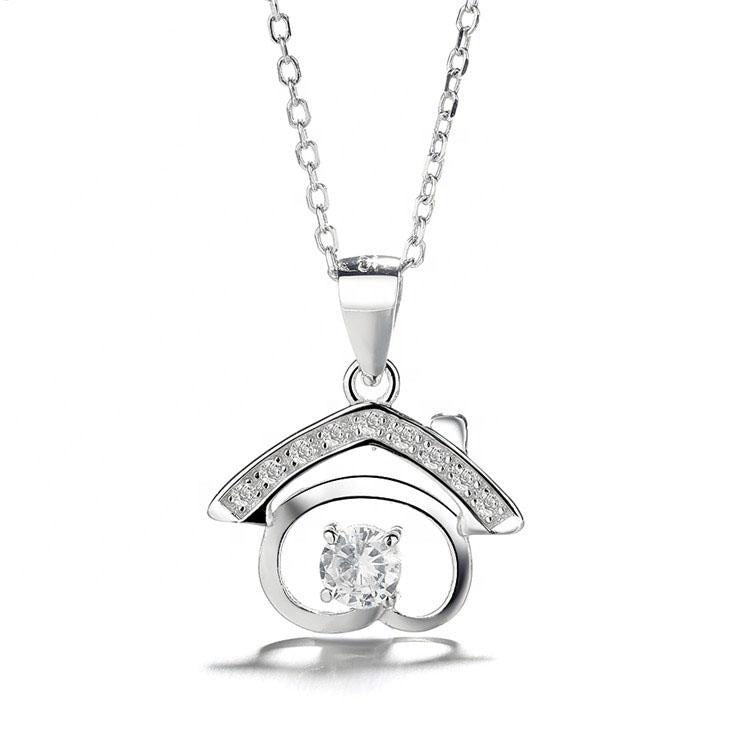 925 Sterling Silver House Pendant Necklace - The Silver Brand