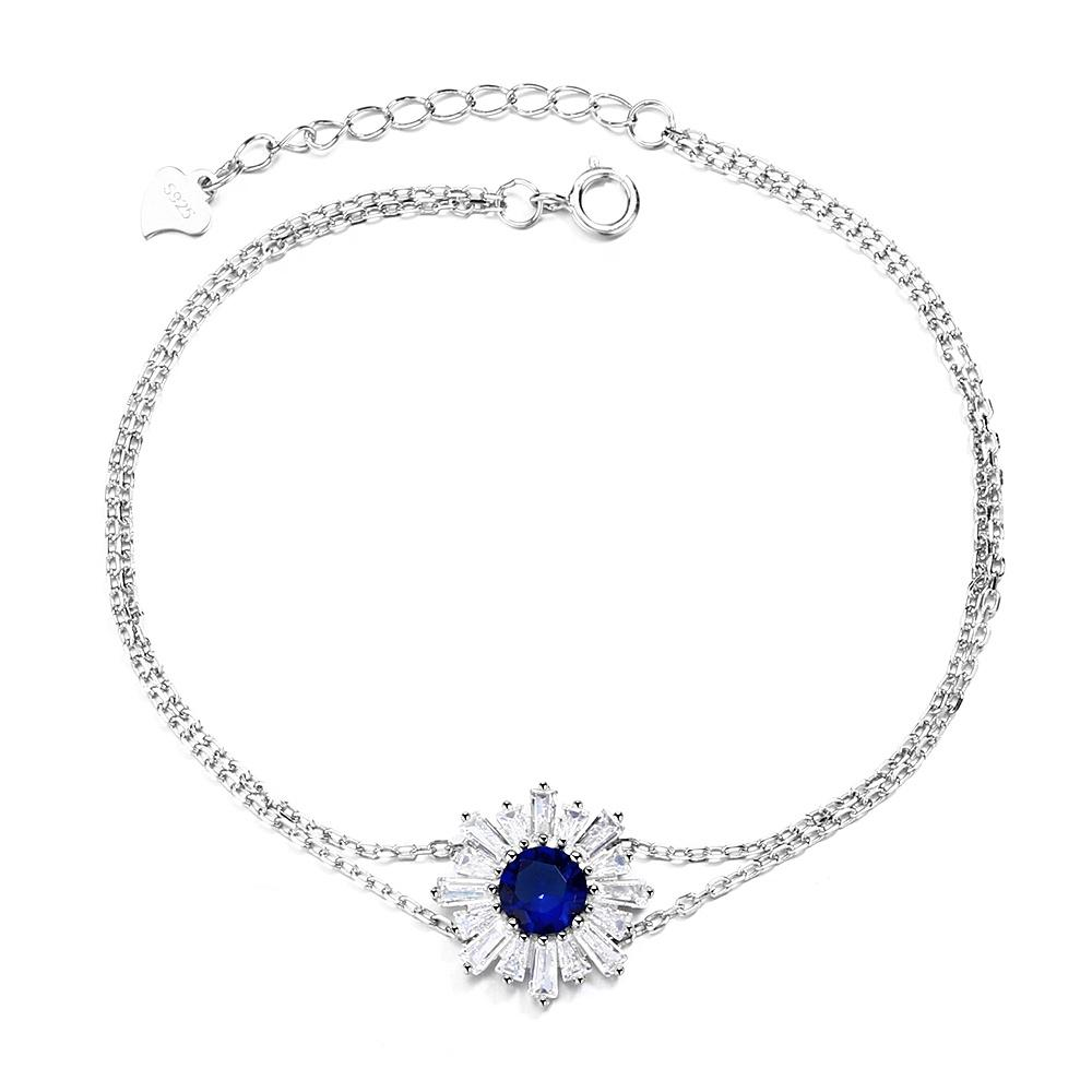 925 Sterling Silver Sapphire Blue Crystal Flower Bracelet - The Silver Brand