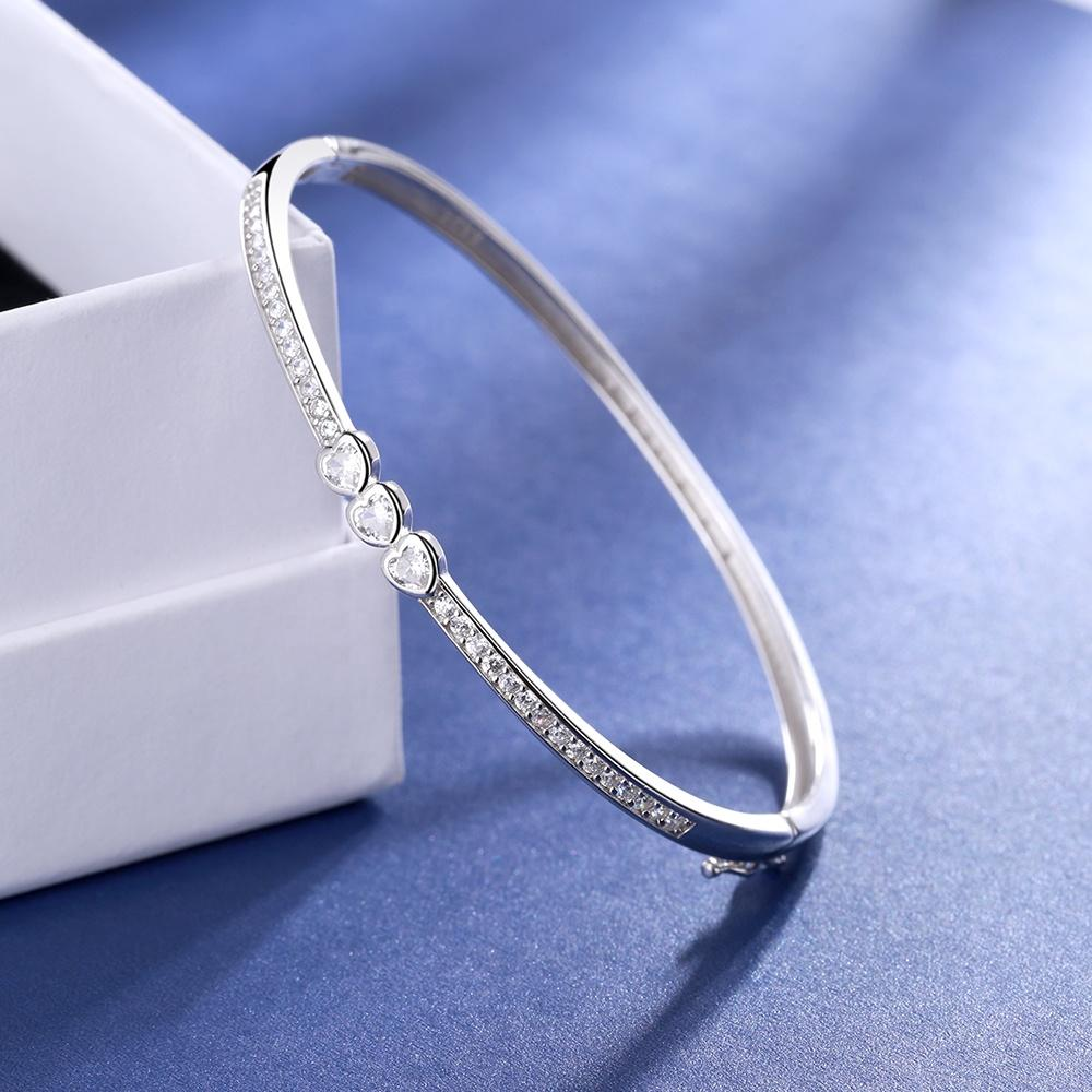 925 Sterling Silver Elegant Heart Shaped Zircon Bangle - The Silver Brand