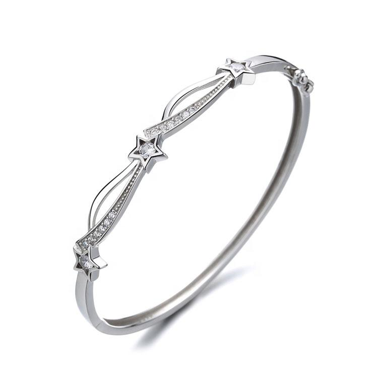 925 Sterling Silver Trendy Star Bangle - The Silver Brand