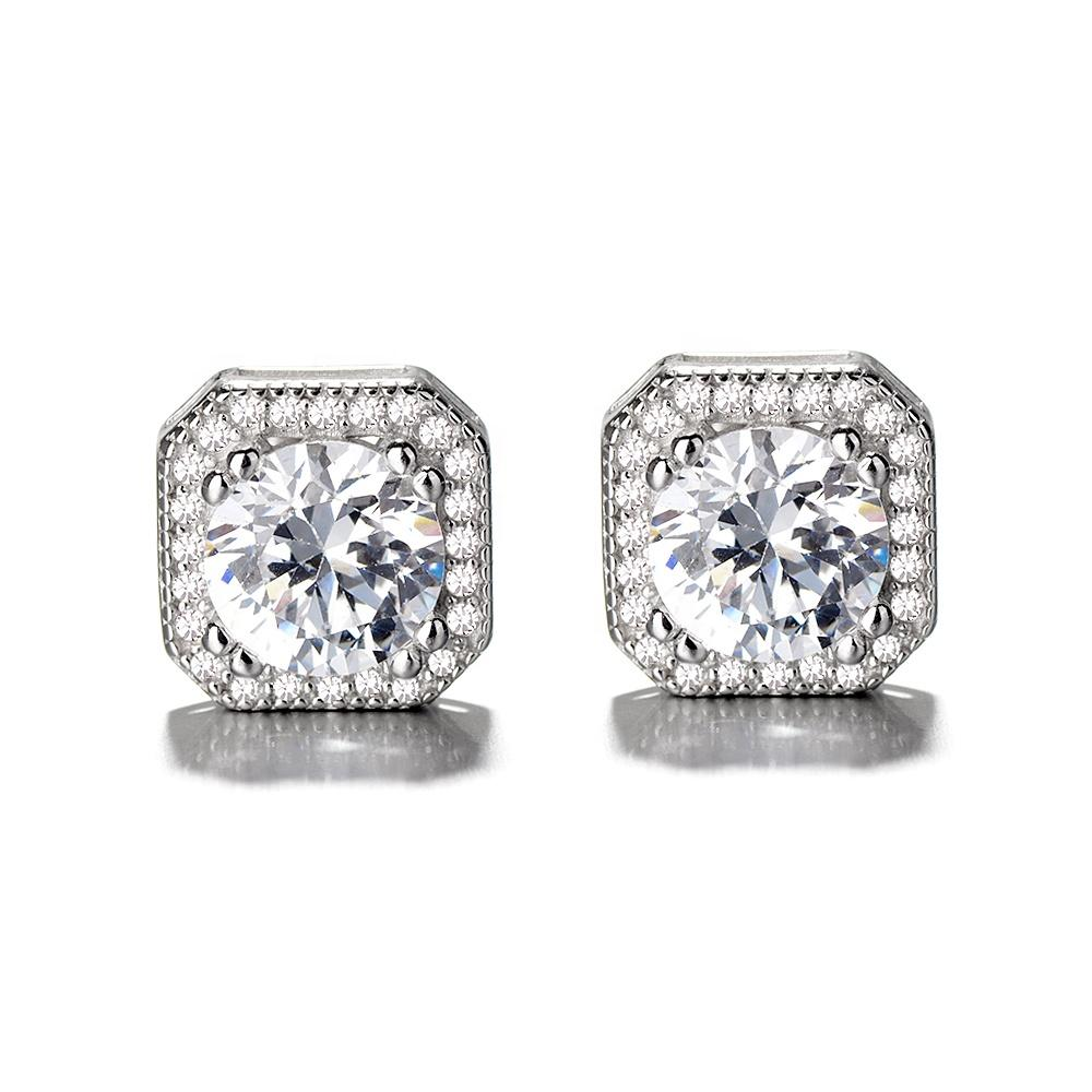 Sterling Silver 925 Square Halo Stud Earrings - The Silver Brand