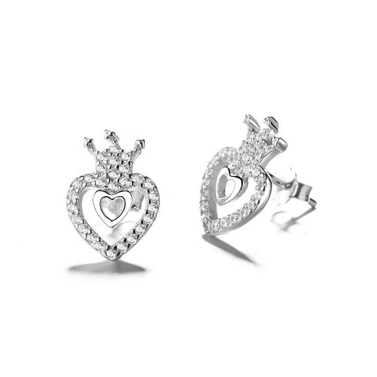 925 Sterling Silver Heart and Crown Stud Earrings - The Silver Brand