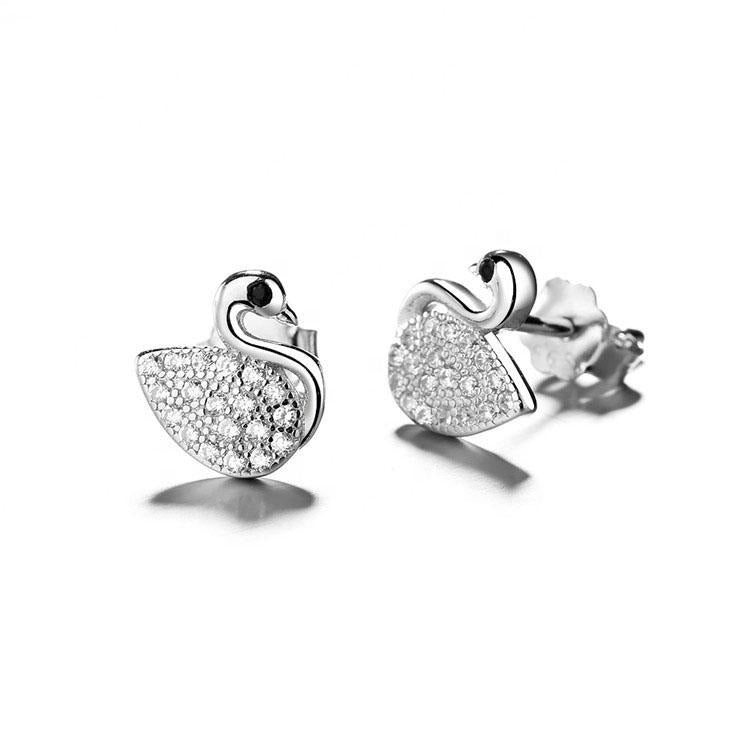 925 Sterling Silver Swan Shape Elegant Stud Earrings - The Silver Brand