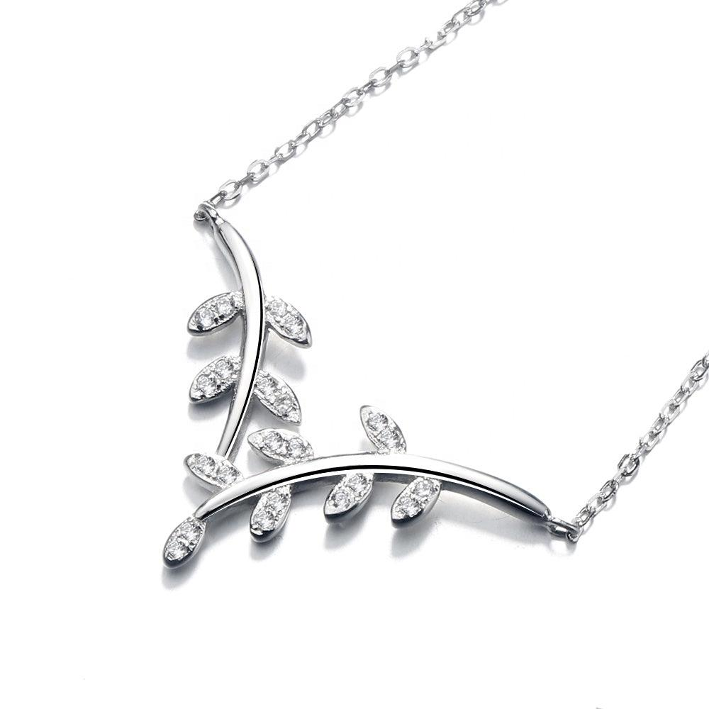 925 Sterling Silver CZ Stone Leaf Shaped Necklace - The Silver Brand