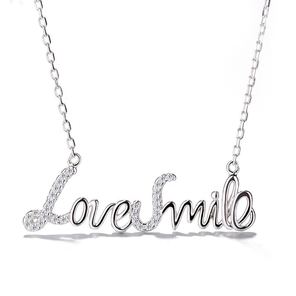 925 Sterling Silver Love Smile Letter Necklace - The Silver Brand