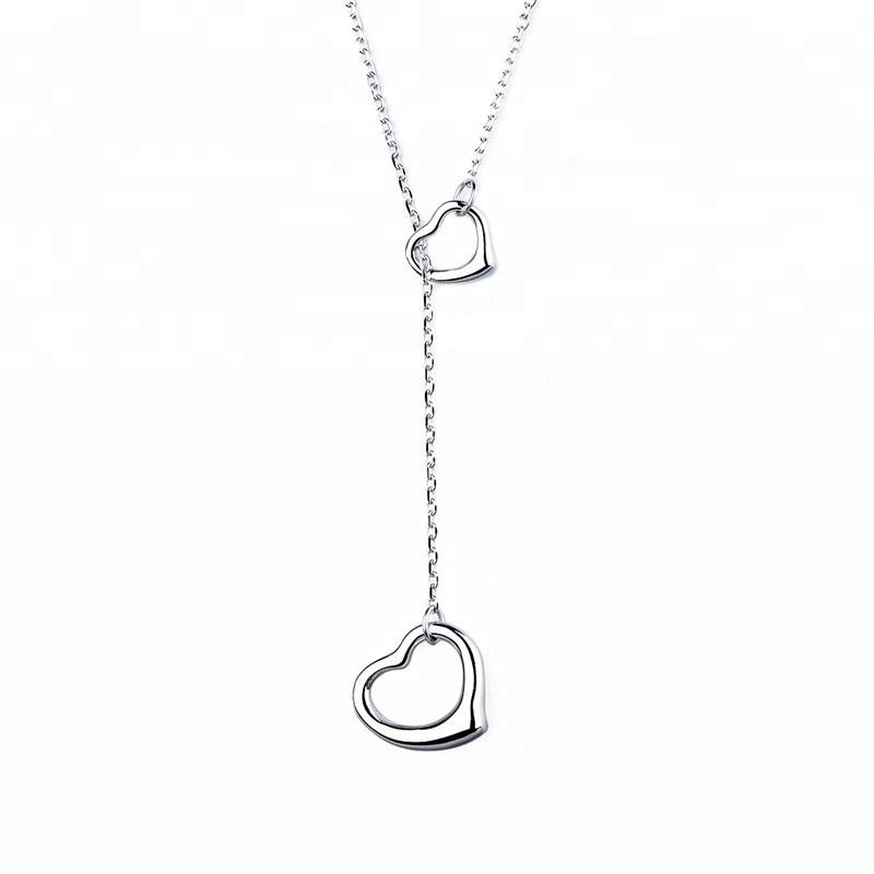 925 Sterling Silver Double Heart Lariat Pendant Necklace - The Silver Brand