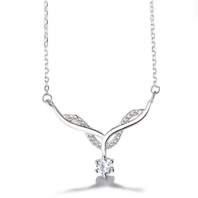 925 Sterling Silver Diamond Pendant Necklace - The Silver Brand