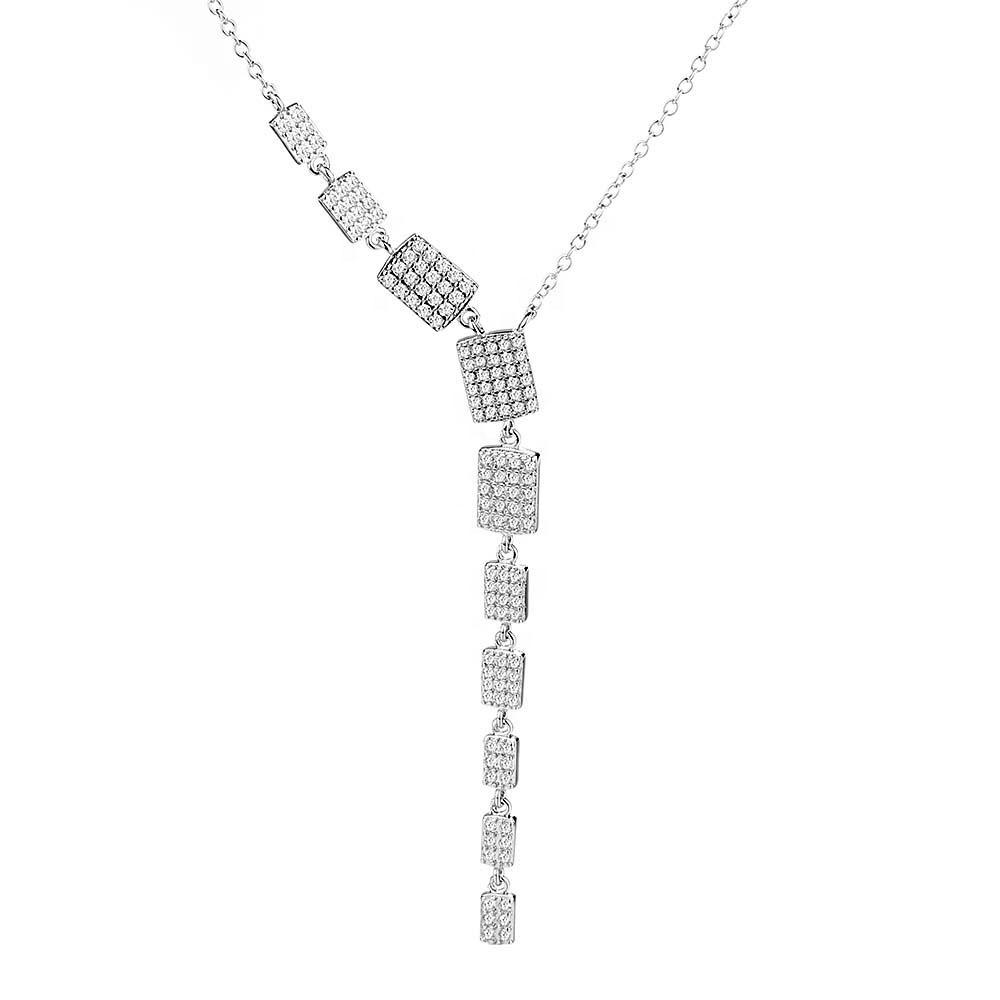 925 Sterling Silver Fancy Rectangle Necklace - The Silver Brand
