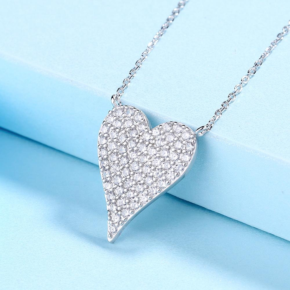 925 Sterling Silver Pave Zirconia Heart Pendant Necklace - The Silver Brand