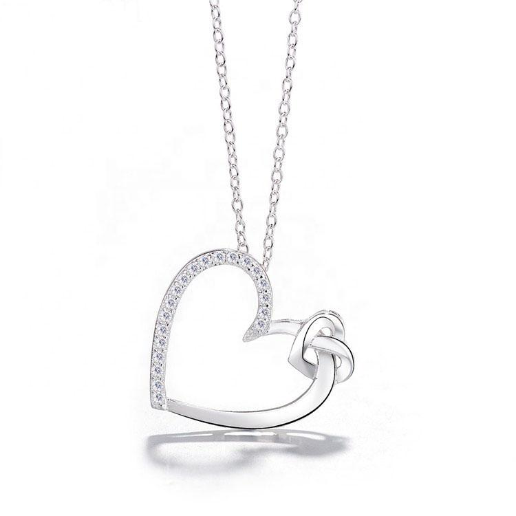 925 Sterling Silver Double Heart Pendant Necklace - The Silver Brand
