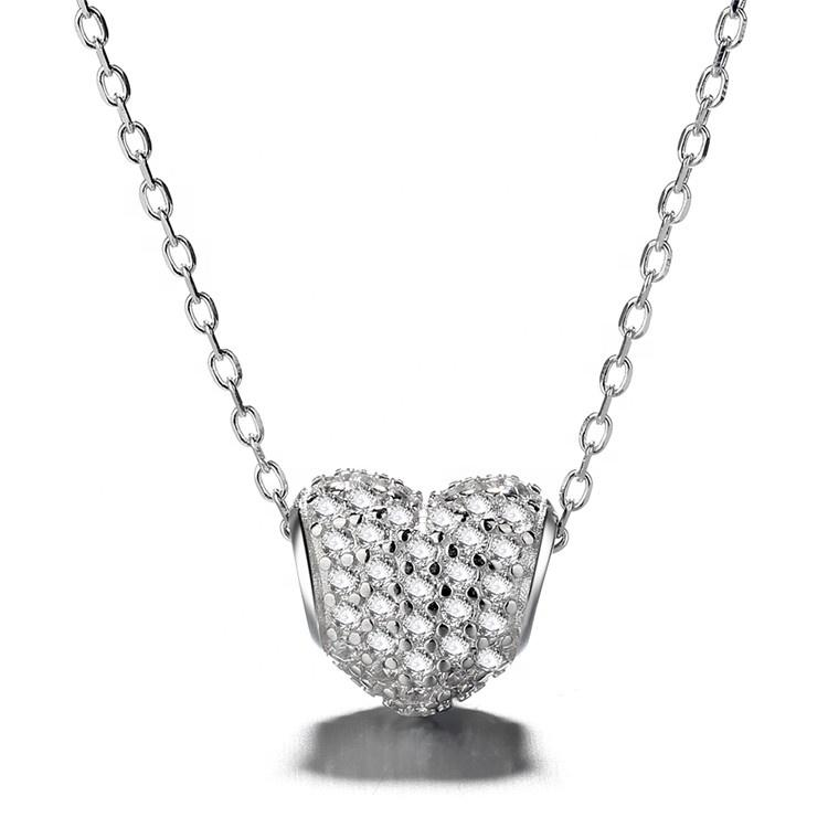 925 Sterling Silver Pave Cubic Zirconia Heart Pendant Necklace - The Silver Brand