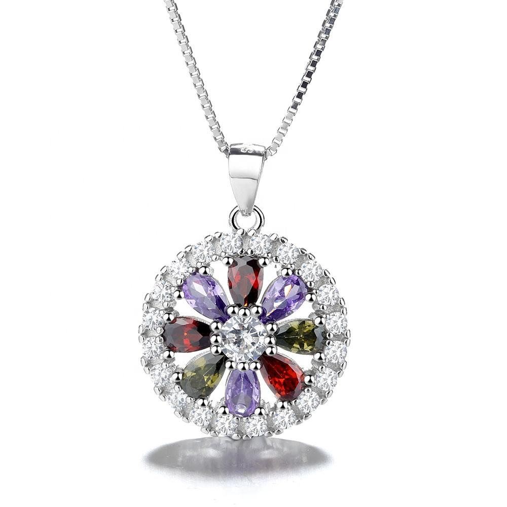 925 Sterling Silver Crystal Flower Pendant Necklace - The Silver Brand