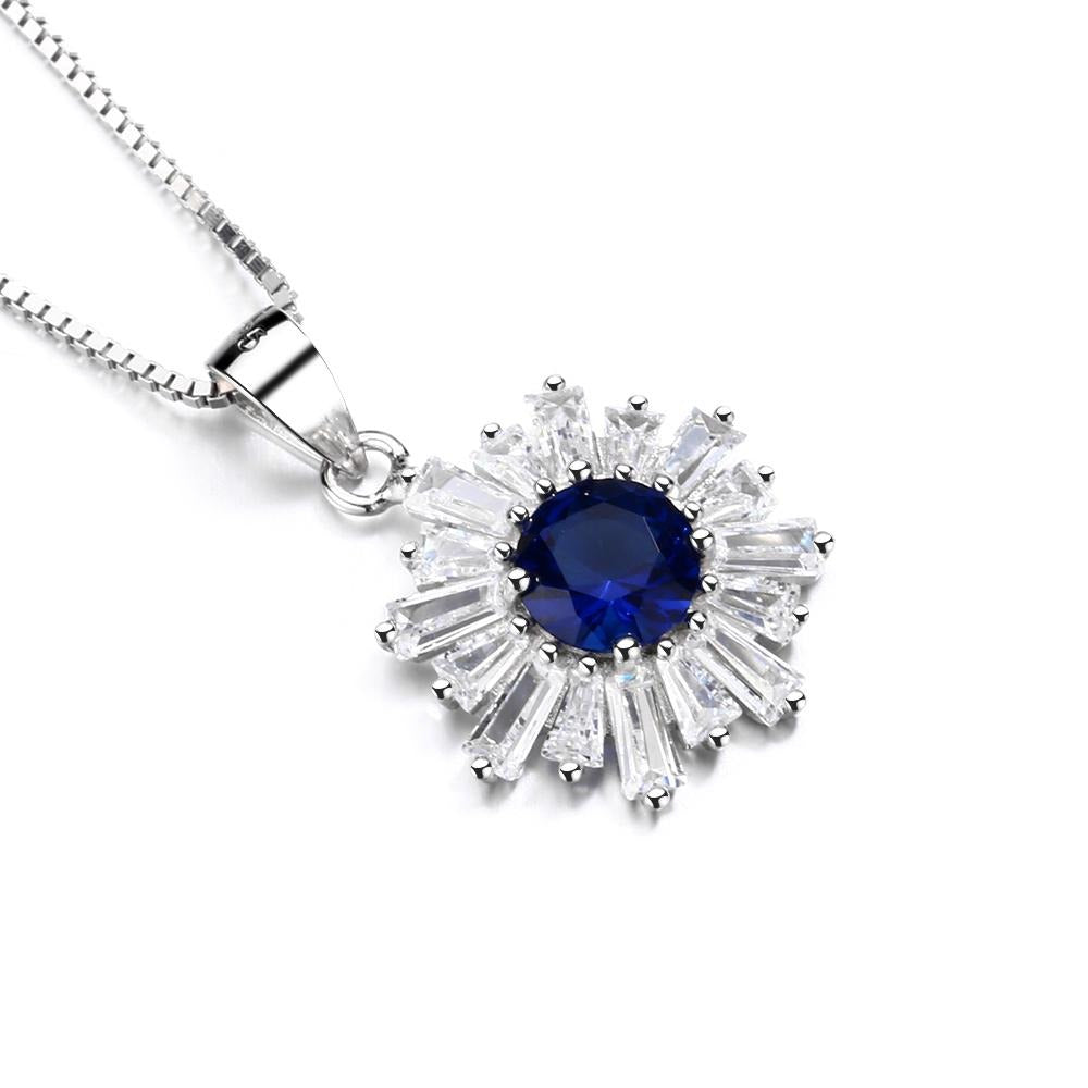 925 Sterling Silver Blue Sapphire Pendant Necklace - The Silver Brand