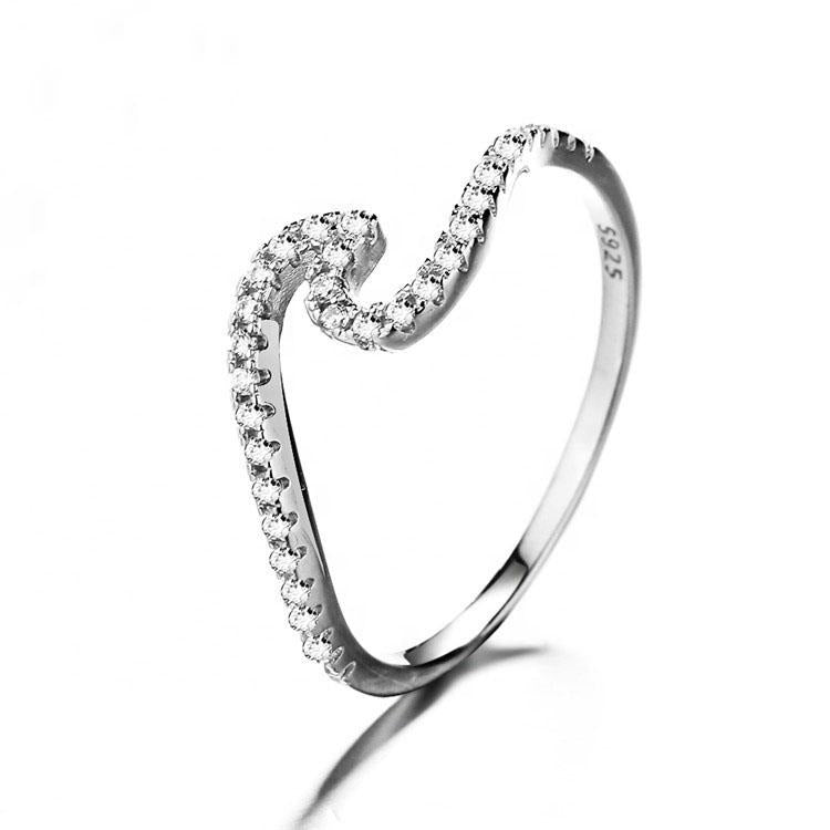 925 Sterling Silver Ocean Wave Ring - The Silver Brand