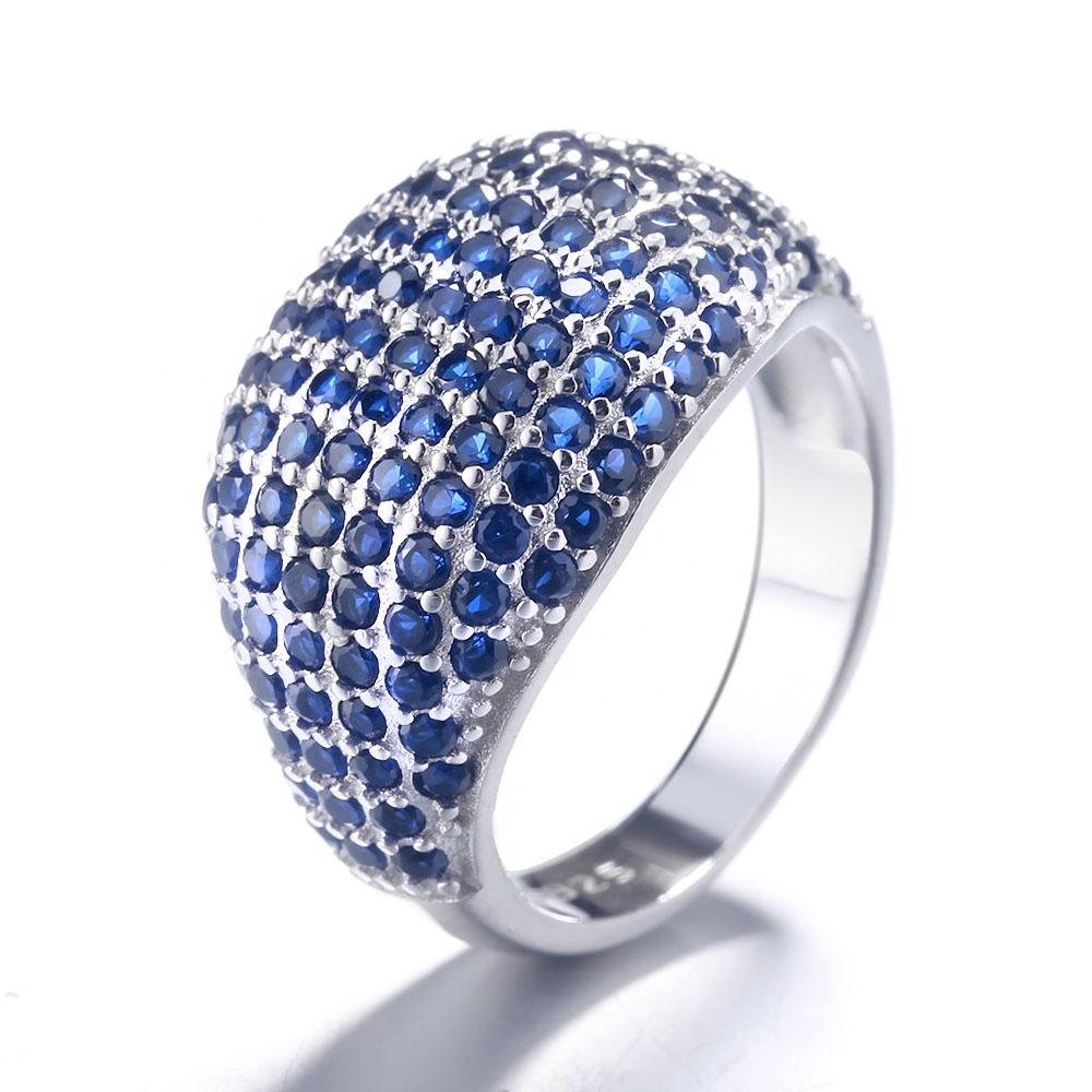 925 Sterling Silver Micro Pave Blue Sapphire Ring - The Silver Brand
