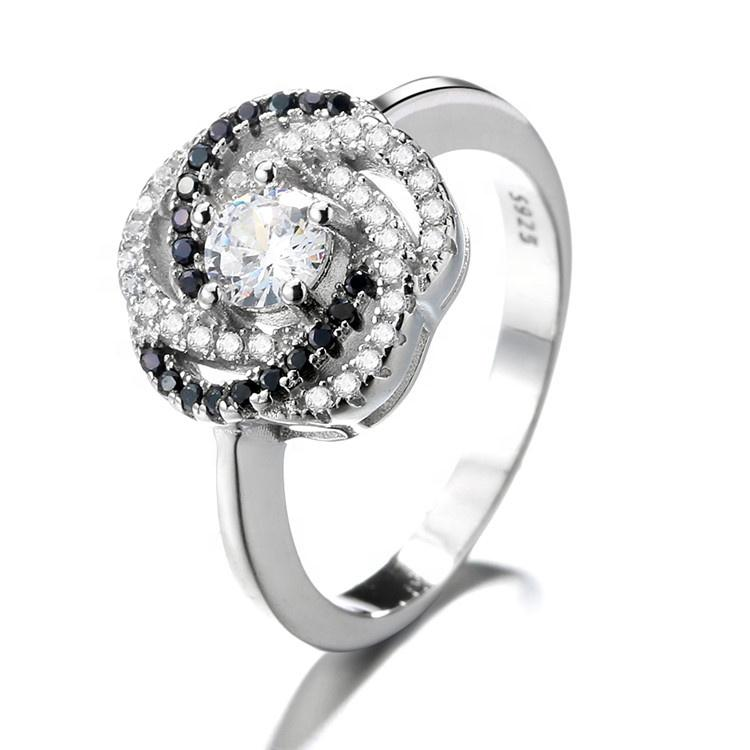 925 Sterling Silver Diamond Rose Ring - The Silver Brand