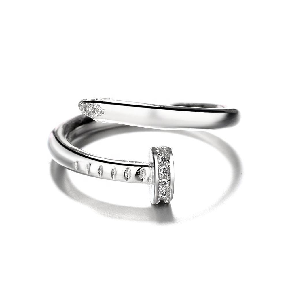 925 Sterling Silver Adjustable CZ Nail Ring - The Silver Brand