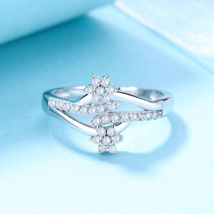925 Sterling Silver CZ Stone Flower Ring - The Silver Brand