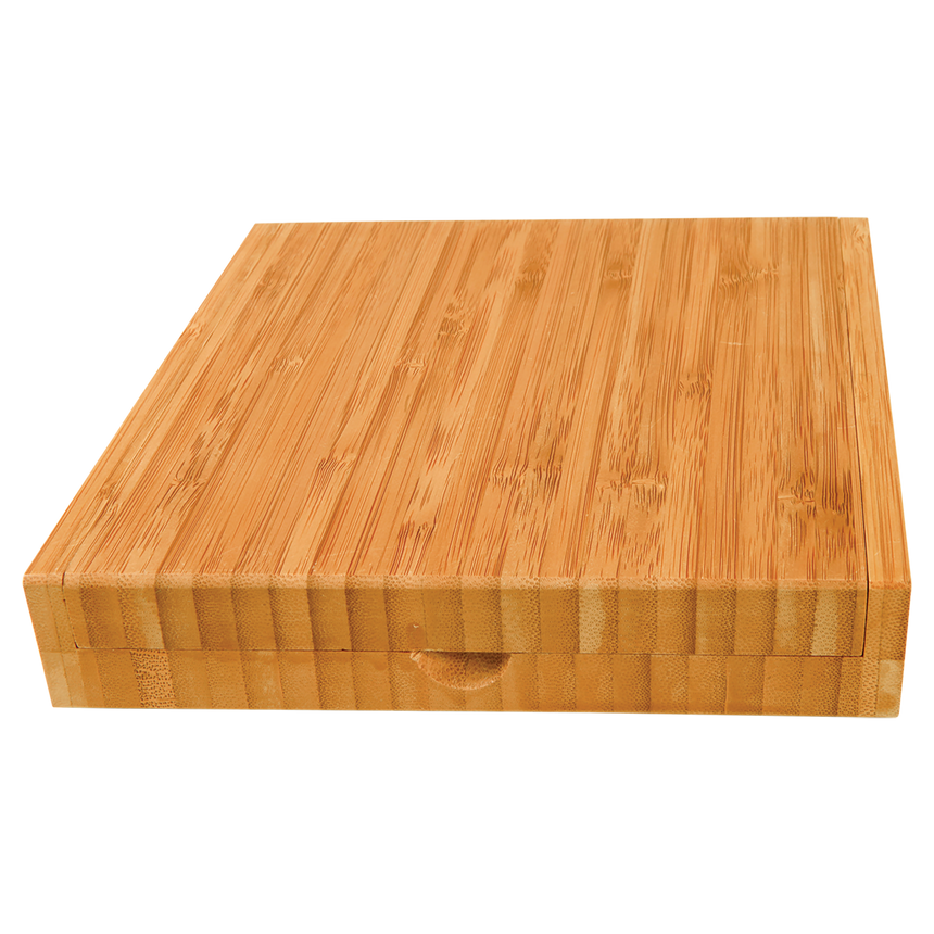 Bamboo 8 by 8 board including cheese knives and storage