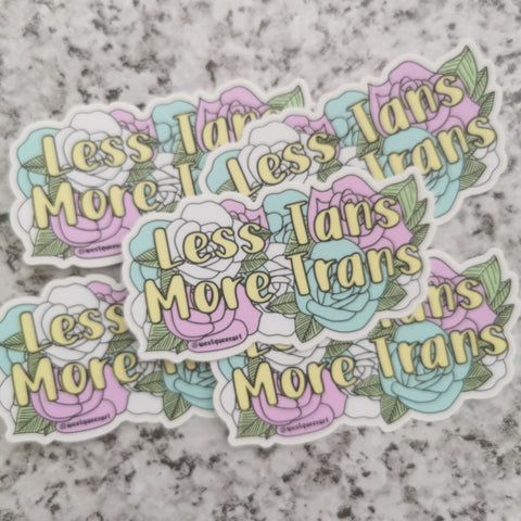 Less Tans More Trans - Sticker