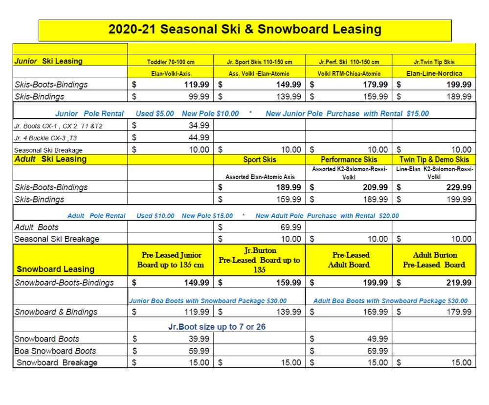 Winter 20-21 Ski & Snowboard Leasing