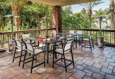 "Echelon Sling 72"" Rect. Aluminum Dining Set with 6 Dining Chairs"