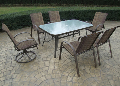 "Santa Cruz Desert Bronze 84"" Rect. Glass Dining Set"
