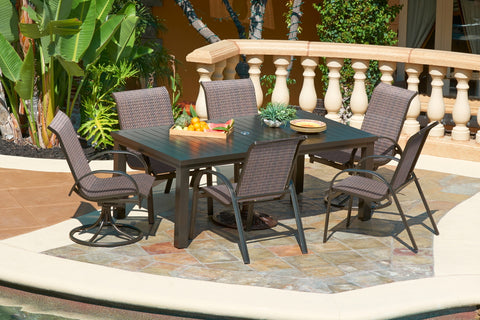 "Santa Cruz Desert Bronze 72"" Slat Woven Dining Set"