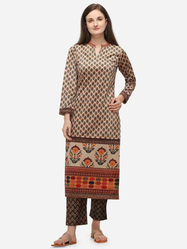 Ahalyaa Off White Long Kurta with Pant