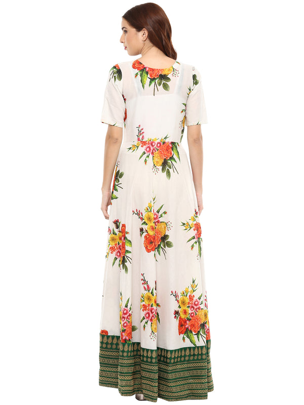 Printed Pure Cotton Flared Kurta Dress
