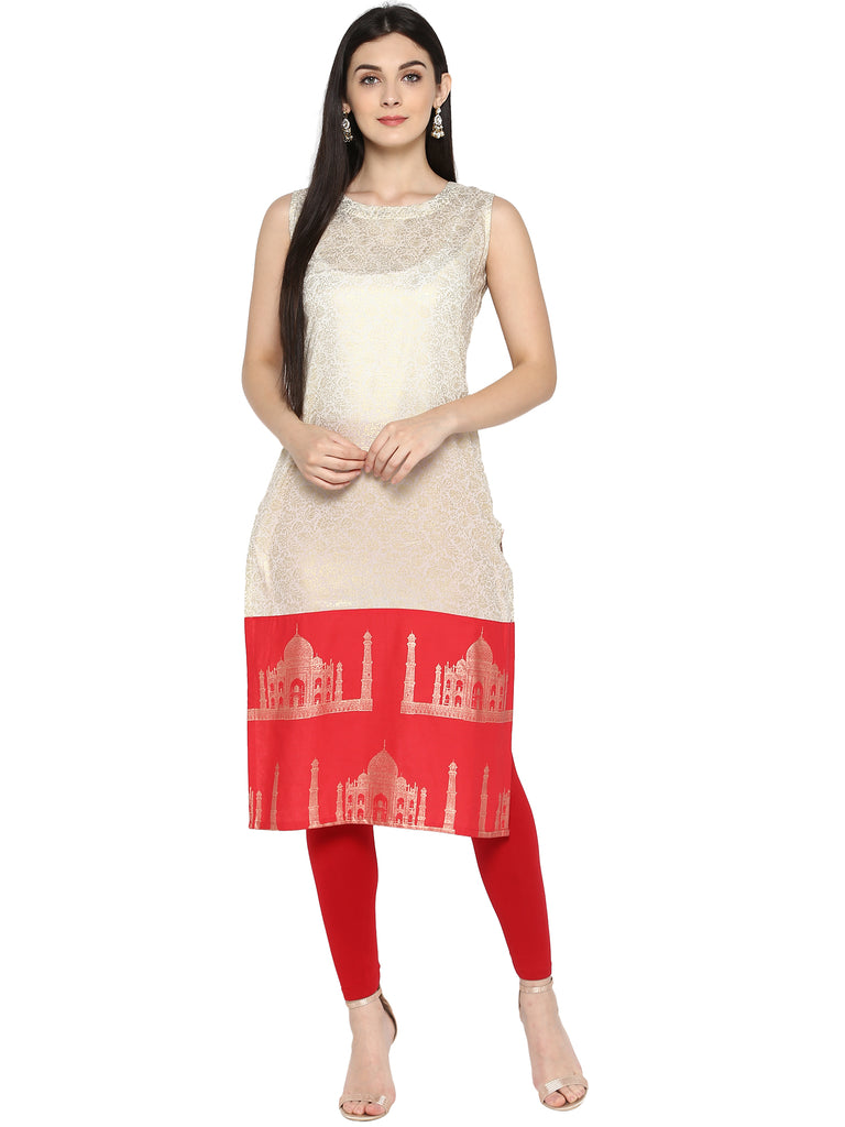 Off White & Red Metallic Printed Straight Cotton Kurta