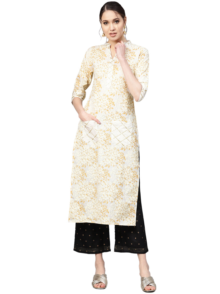 Ahalyaa Women's Straight Cotton Kurta