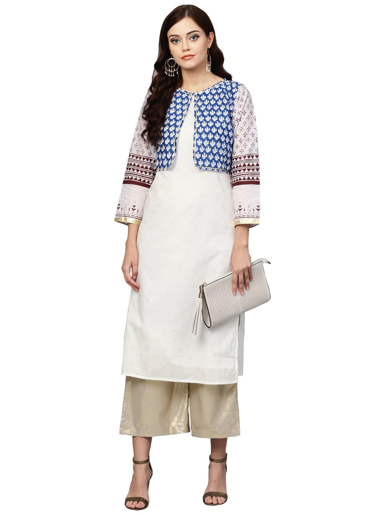 Printed Straight Cotton Kurta with koti Jacket For Women
