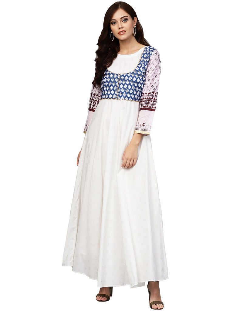 White and Blue Printed Flare Cotton Jacket Kurta For Women