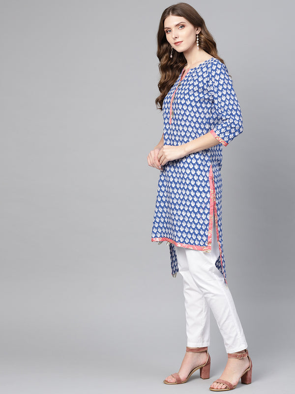 Ahalyaa Blue High Low Hem Straight Kurta for Women