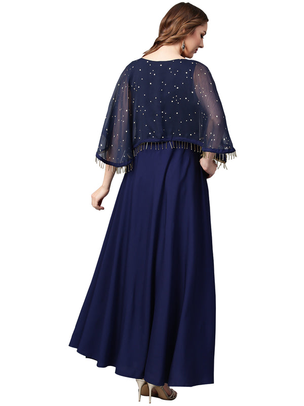 Women Navy Blue Solid A-Line Layered Kurta from Ahalyaa