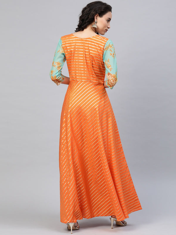 Ahalyaa Women Orange & Gold Ethnic Kurta  Dress