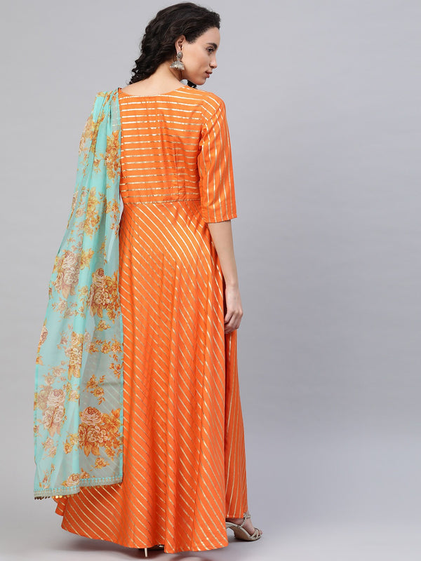 Ahalyaa Women Orange & Gold Ethnic Kurta  saree Dress
