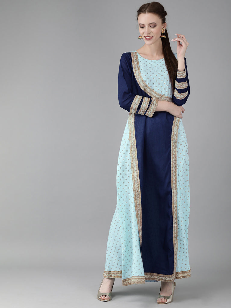 Women Printed Half Circle kurta From Ahalyaa