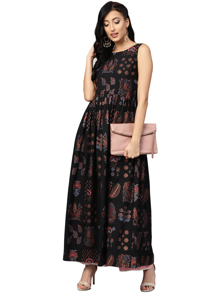 Black Printed Flare Kurta Dress For Women