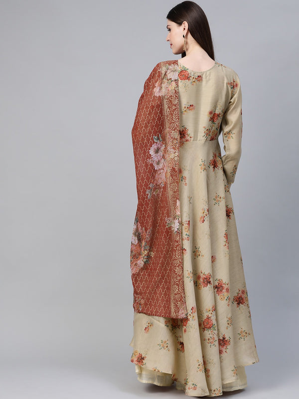 Women Beige & Red Floral Printed Anarkali Kurta with Dupatta