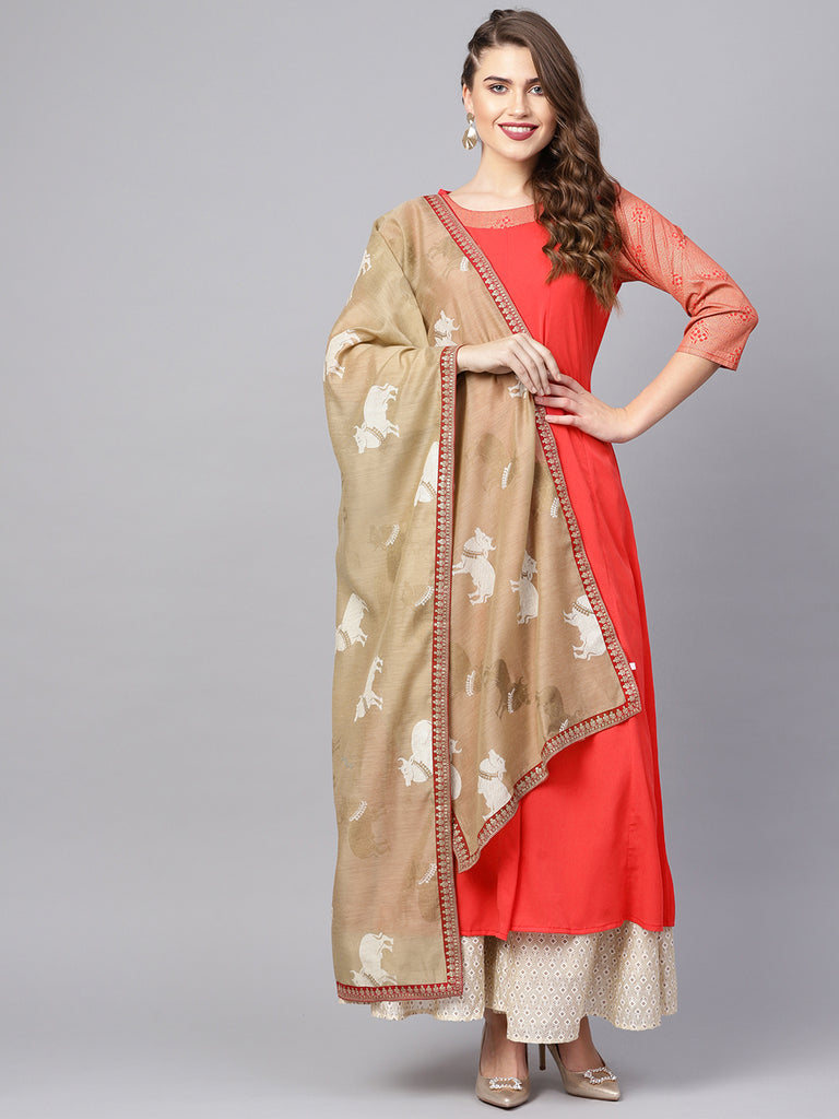 Women Solid Crepe Kurta with Dupatta