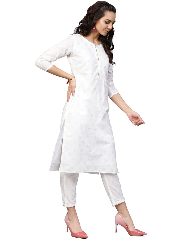 Ahalyaa White Straight Cotton Kurta Sets