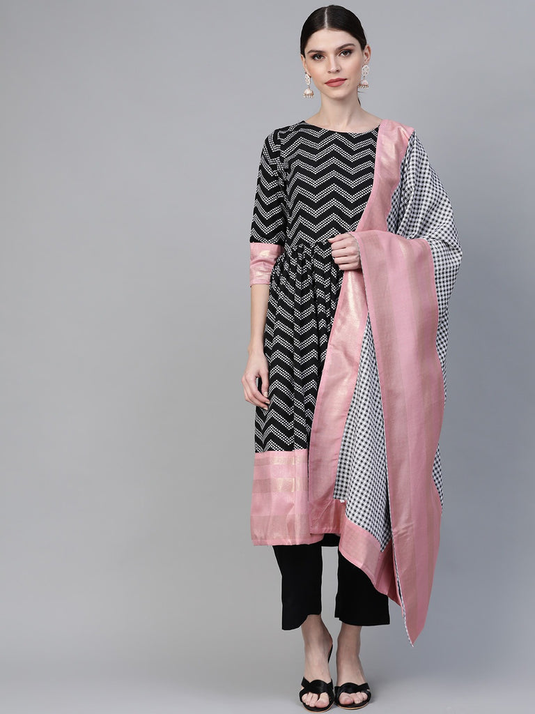 Women Black & White Polka Dots Chevron Khari Printed Kurta with Trousers & Dupatta