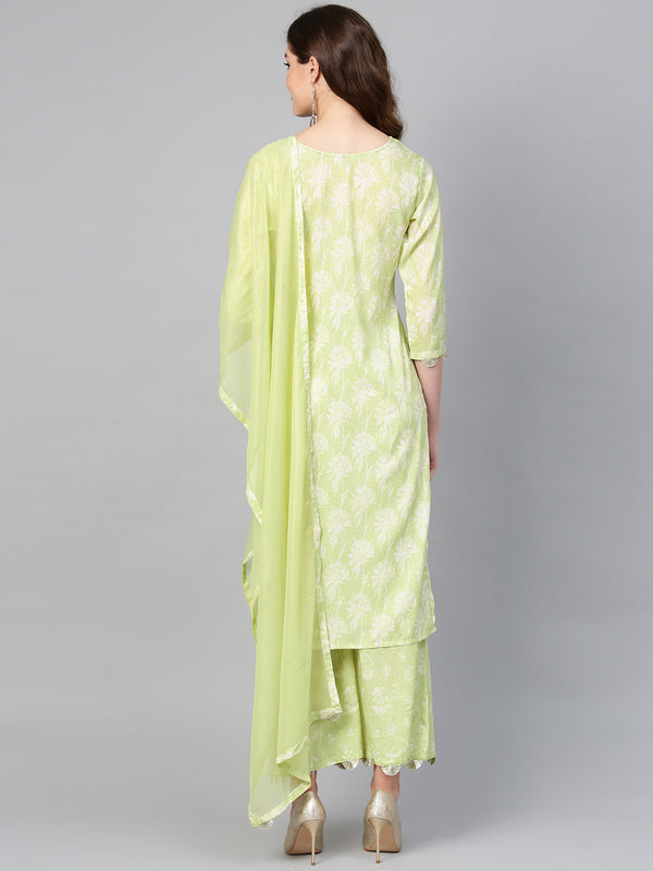Light Green Round Neck Straight Floral Kurta with Palazzo