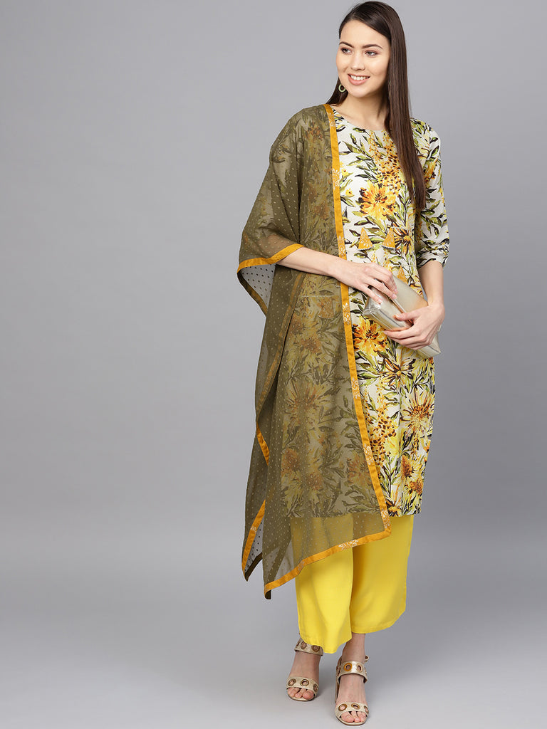 Yellow Printed Kurta Set for Women