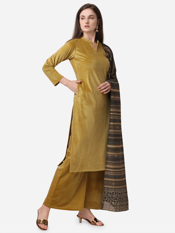 Ahalyaa Dark Mustard Solid Kurta Set with Dupatta